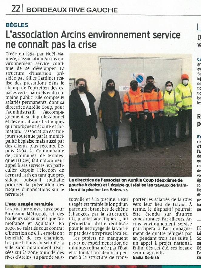 article de presse ARCINS Environnement Service