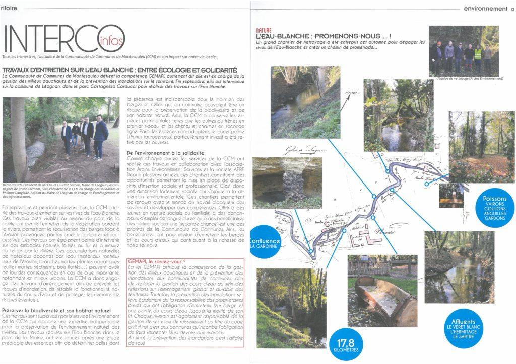 article sur le chantier d'insertion ARCINS Environnement Service dans l'entretien des cours d'eau