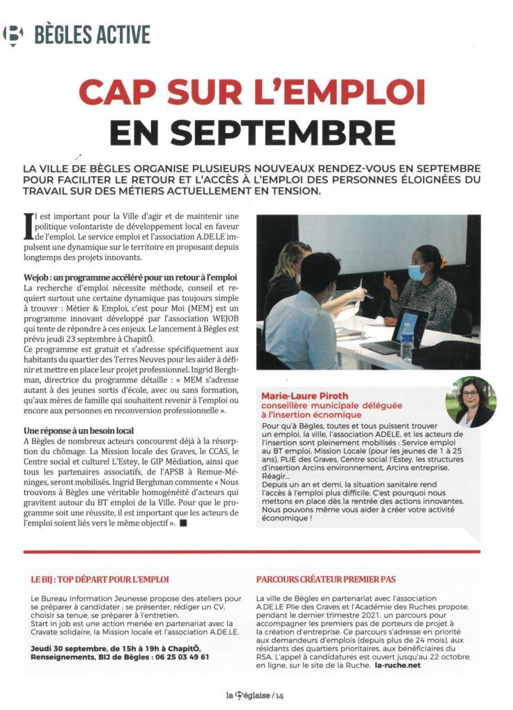 """article du magazine """"La Béglaise"""" sur le retour à l'emploi"""